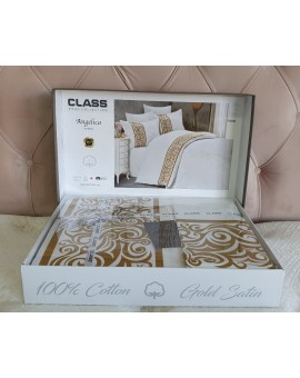 Class lenjerie de pat din bumbac satin 100% - Angelica V1 White - 2 parsoane